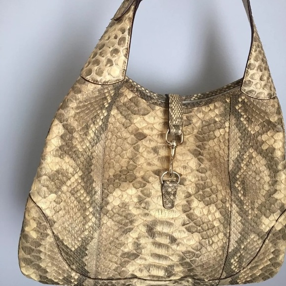 33afc5be7e Gucci Snakeskin Hobo Bag In Pearl  Metallic Python